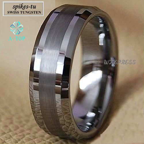 Titanium Color Two Tone Tungsten Carbide Ring Mens