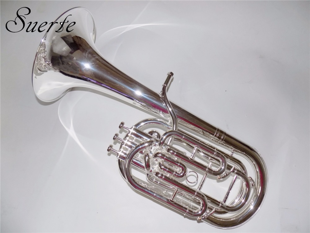 Bb Compensated Baritone 3 Pistons Baritone horn Silver Plated with Foambody Case and Mouthpiece Musical Instruments Professional professional silver gold plated marching french horn bb monel valves with case