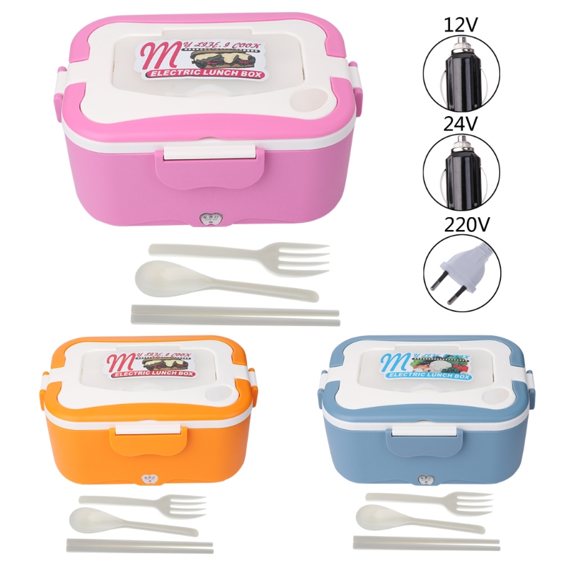 1.5L 12V/24V/220V Car Portable Electric Heating Lunch Box Meal Heater Multi-Functional Food-Grade Food Container 45W EU plug multi function electric lunch box stainless steel tank household pluggable electric heating insulation lunch box