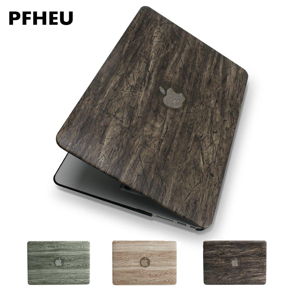 NUEVA CUBIERTA clásica de cuero PU de grano de madera + funda de plástico duro para MacBook Air Pro Retina 11 12 13 15 pulgadas barra táctil