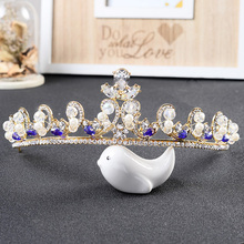 European Style Zircon Queen Tiara Blue Rhinestone Royal Pricess Crown For Women Wedding Engagement Bridal Head Accessory HG254