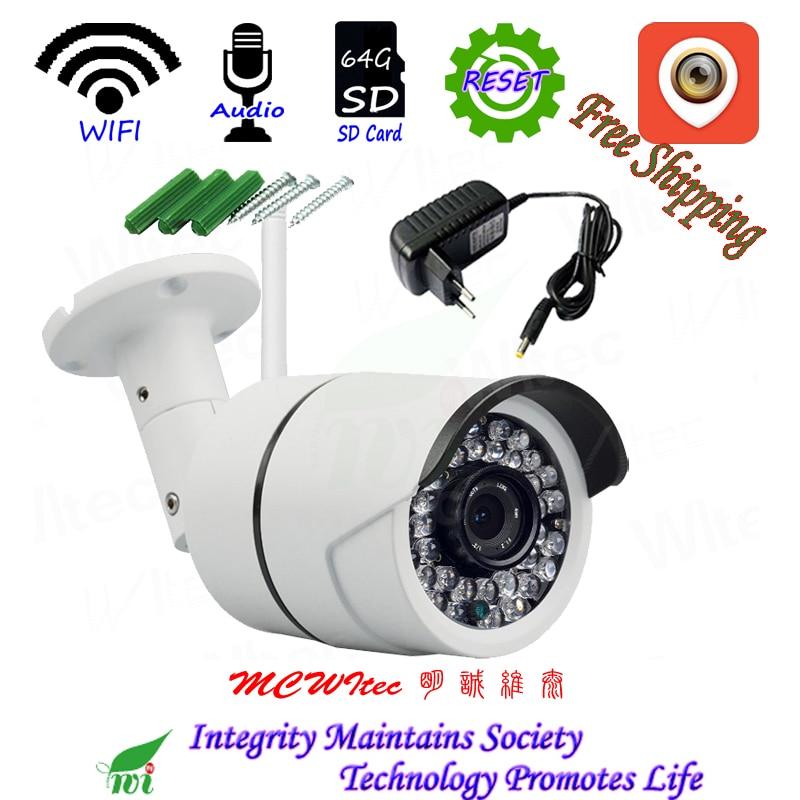 Impermeabile XM Audio Reset WIFI IPC 1080 p 720 p Telecamera di Sicurezza ONVIF P2P IP Cam telecamera di visione notturna di IR CCTV carta di DEVIAZIONE STANDARD RTSP Allarme Esterno