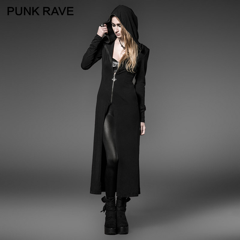Punk Rave Gothic Witches Hats Zipper Black Long Coat Knitting Hoodies Trench Halloween Christmas Party Sweatshirts Women Coats