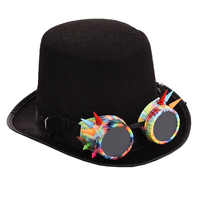 Steampunk Colorful Goggle Black Hat Vintage Goggles Hat Steam Punk Gothic Top Hats Fedora Accessories