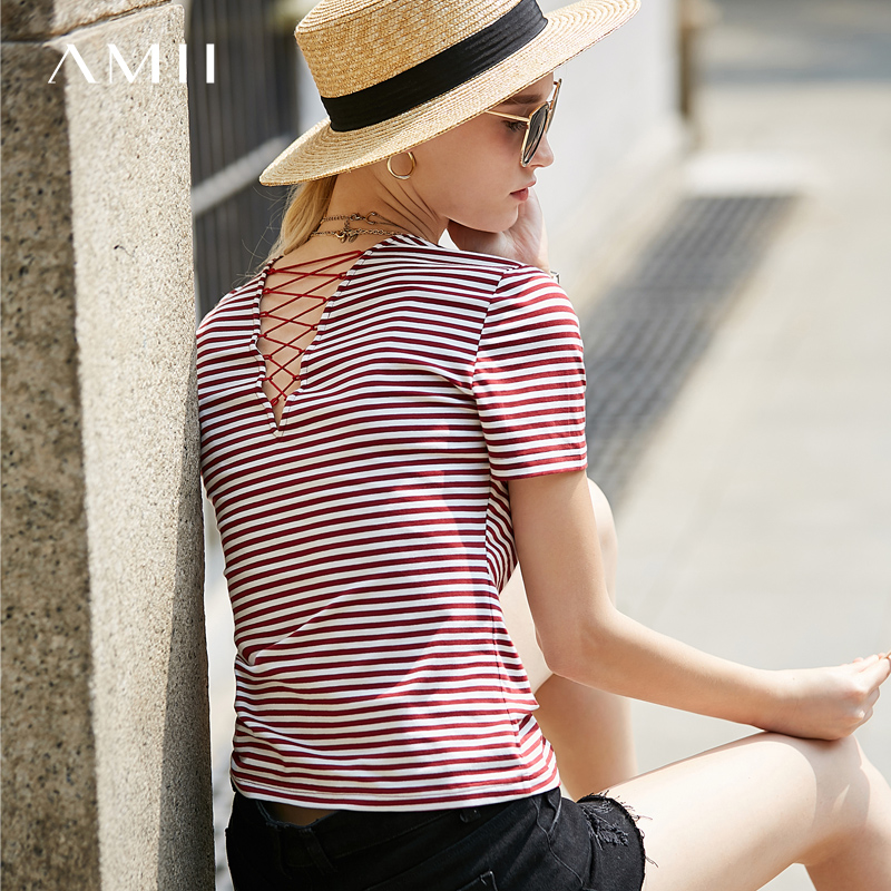 Amii Women Minimalist 2018 Summer T-Shirt Stripe V Neck Straps Short Sleeve Female Tee Tops
