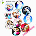 New arrival children mini snap button 12 mm Anna and ELSA princess Resin glass snap button for bracelet or necklace