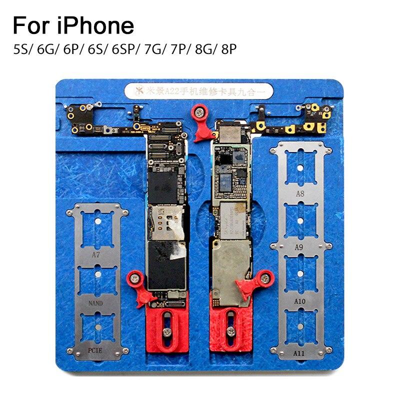 UANME 9 dans 1 Téléphone De Réparation Carte Mère Fixation Pour iPhone 5S 6 6 S 7 8 Plus CPU Puce Outils De Réparation PCB Titulaire gabarit