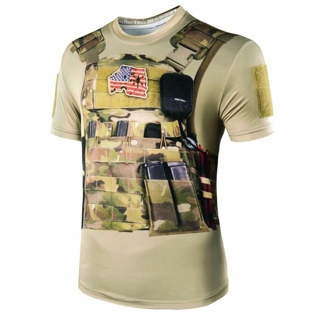 b14395c50ac 2018 новые Камуфляж Мужчины 3D Стиль Военный камуфляж футболка тактический  бой Лето быстросохнущая футболки охотничья Экипировка
