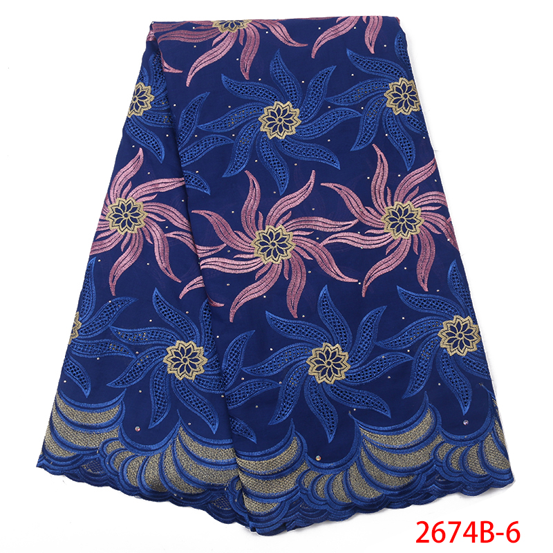 High Quality Latest Small African Embroidered Fabrics Online Cotton Swiss Voile Lace Austria QF2674B 6