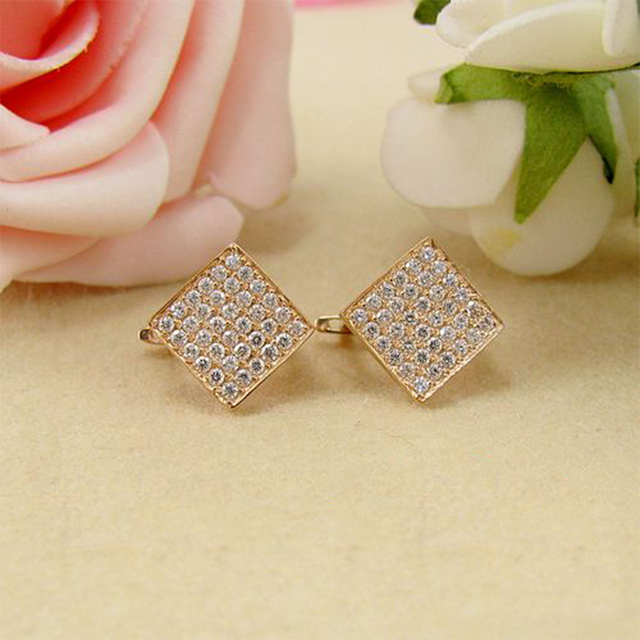 18K Rose Gold with Diamond Earrings