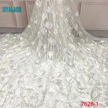 Африканская вышитая бисером тюль кружевная ткань высокого качества кружевной Материал Чистая французская вышивка нигерийская кружевная ткань YA762B-1