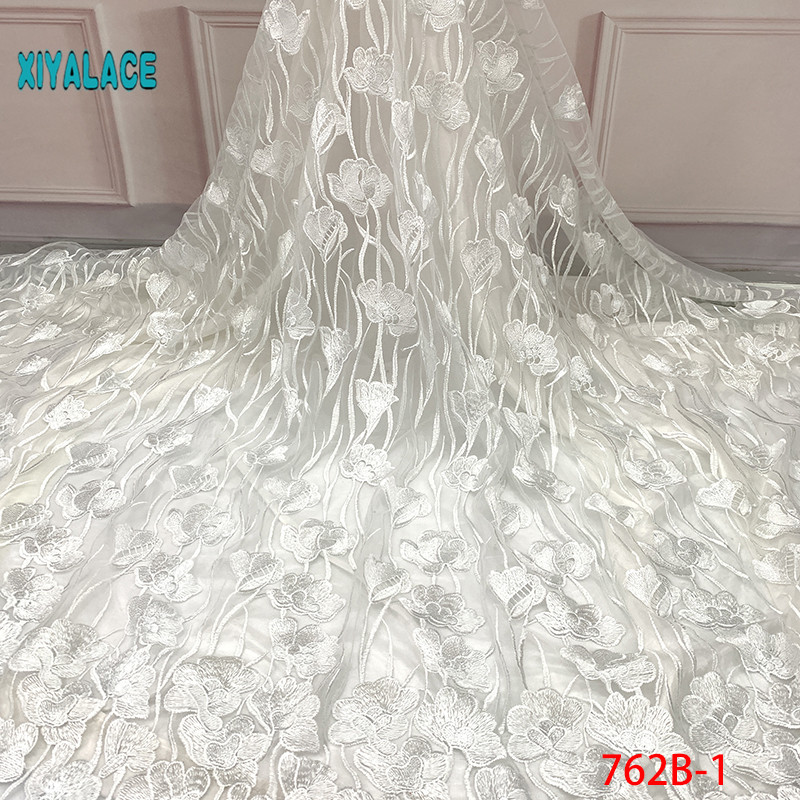 2019 African Beaded Tulle Lace Fabric High High Quality Lace Material Net French Embroidery Nigeria Lace Fabric YA762B-1