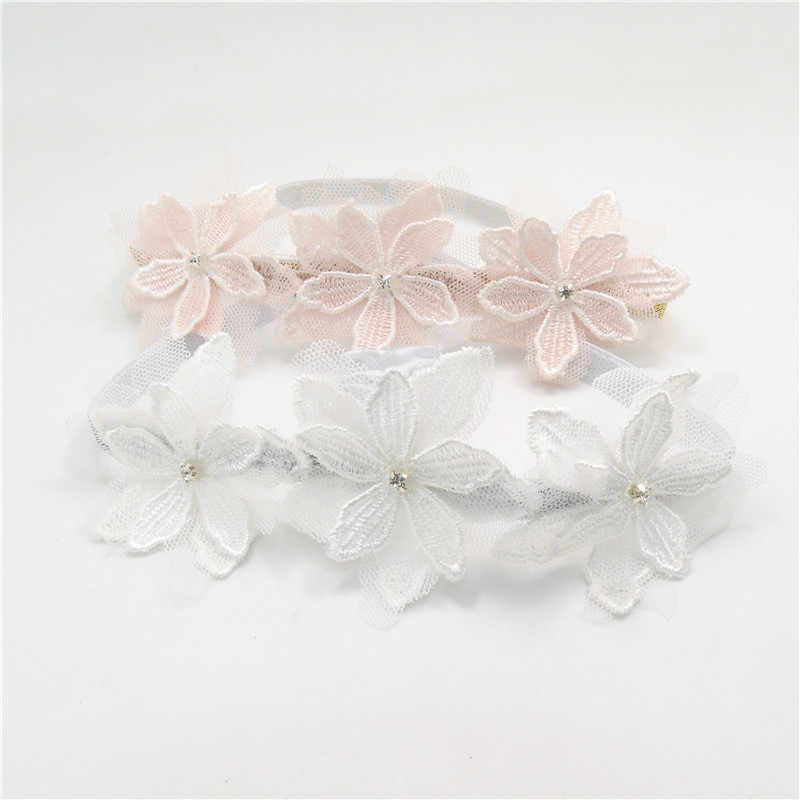 20pc/lot Three Embroidery Flower Stretch Headband Mesh Floral Wedding Flower Girl Elastic Headband Bridal Kid Princess Gold Band