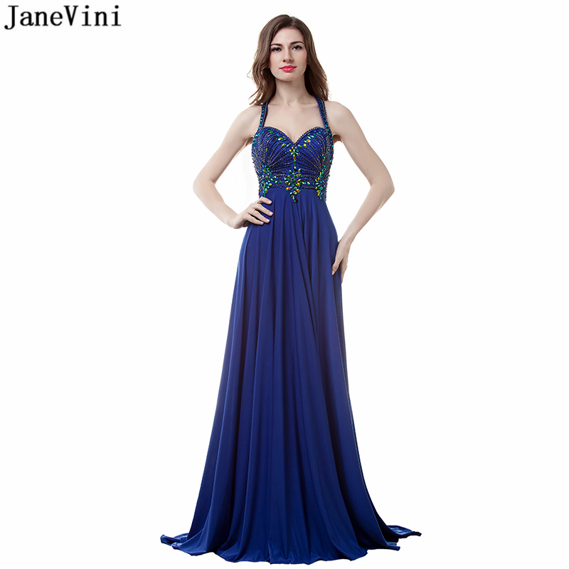 JaneVini Sexy Royal Blue Chiffon Arabic Long Mother of The Bride Dresses Sweetheart Beading A Line Women Formal Gown for Evening