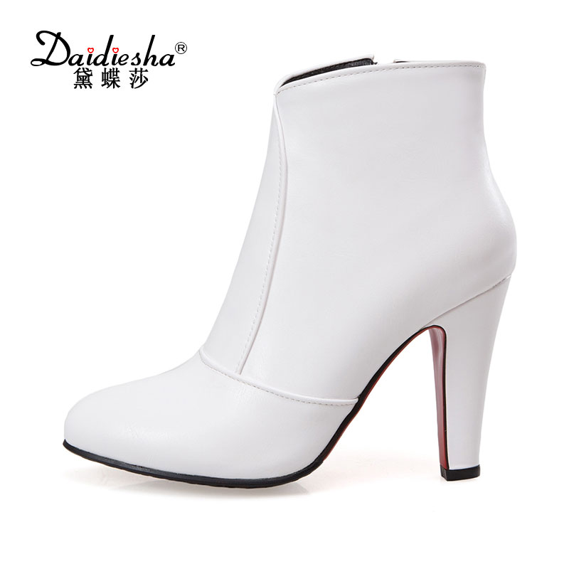 Daidiesha 2017 Women Boots Ankle Boots for Women Pointed Toe High Heels Winter Autumn Boots Sexy Ladies Shoes Zip Plus Size 48