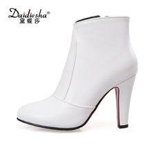 Daidiesha 2017 г. женские ботинки женские ботильоны острый носок и высокий каблук зима-осень сапоги пикантная женская обувь на молнии плюс Размеры 48