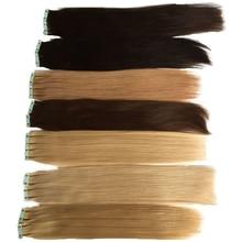 Волосы на Клейкой Ленте имитирующей кожу натуральный Цвет#1#2#4#27#613 прямо PU с кутикулой наращиваемые лента в Пряди человеческих волос для наращивания 12-24 дюймов перуанские накладные волосы