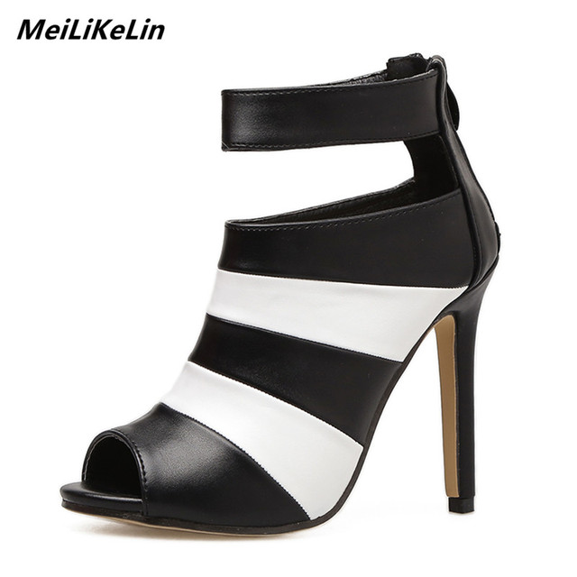 cc325541fe5e MeiLiKeLin Women peeped toed high heels caged shoes women Black+White Mixed  Colors ankle strap spring boots high heeled shoes