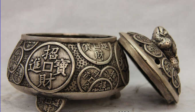 Scy تحصيل البرونزية الأسد تمثال الثروة العلجوم bufonid S0697 الصين الأبيض النحاس الفضة الذهبي المال مبخرة مبخرة b0403