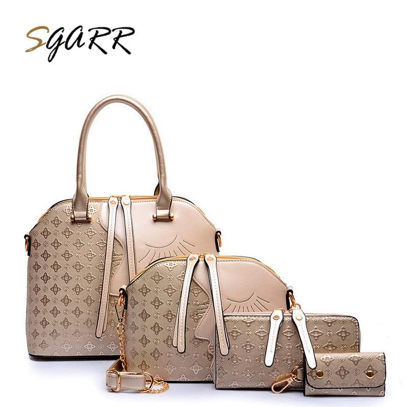 SGARR Brand PU Leather Luxury Women Handbag Crossbody Bag Vintage Women Messenger Bags+Shoulder Bag+Wallet+Key Holder 4PCS/Set стоимость