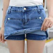 wangcangli new female denim shorts jeans female low-waist shorts 2017 women's jeans female Korean hole denim shorts curling 9918
