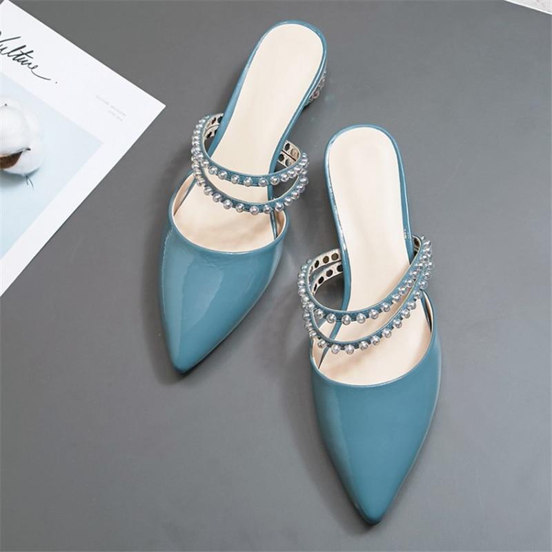 Ouqinvshen Kristal Gaya Aneh Mules Sepatu Wanita Plus Ukuran 33-42 - Sepatu Wanita - Foto 3