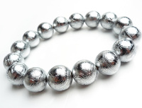 14 мм 100% натуральные браслеты Gibeon метеорит посеребренные браслеты женские мужские растягивающиеся шармы большие круглые бусины браслет