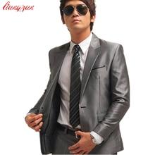 Пиджак+ брюки+ галстук) мужской свадебный костюм, смокинг, формальная Мода, приталенный деловой костюм, Блейзер, Брендовые вечерние мужские костюмы