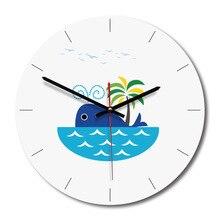 Nordic деревянные настенные часы Акрил Простой Современный Дизайн море печатных иглы тихий висит часы Дети Спальня часы домашнего декора