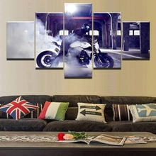 HD Print Modular Picture Canvas Home Decor Bedroom 5 Piece Bmw Motorcycle Smoke Light Painting Wall Art Extreme Sports Poster