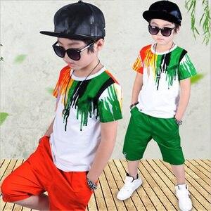 Image 2 - Подростковые спортивные костюмы, комплекты летней одежды для мальчиков, футболка с коротким рукавом и повседневные брюки, От 3 до 10 лет Детская одежда для мальчиков