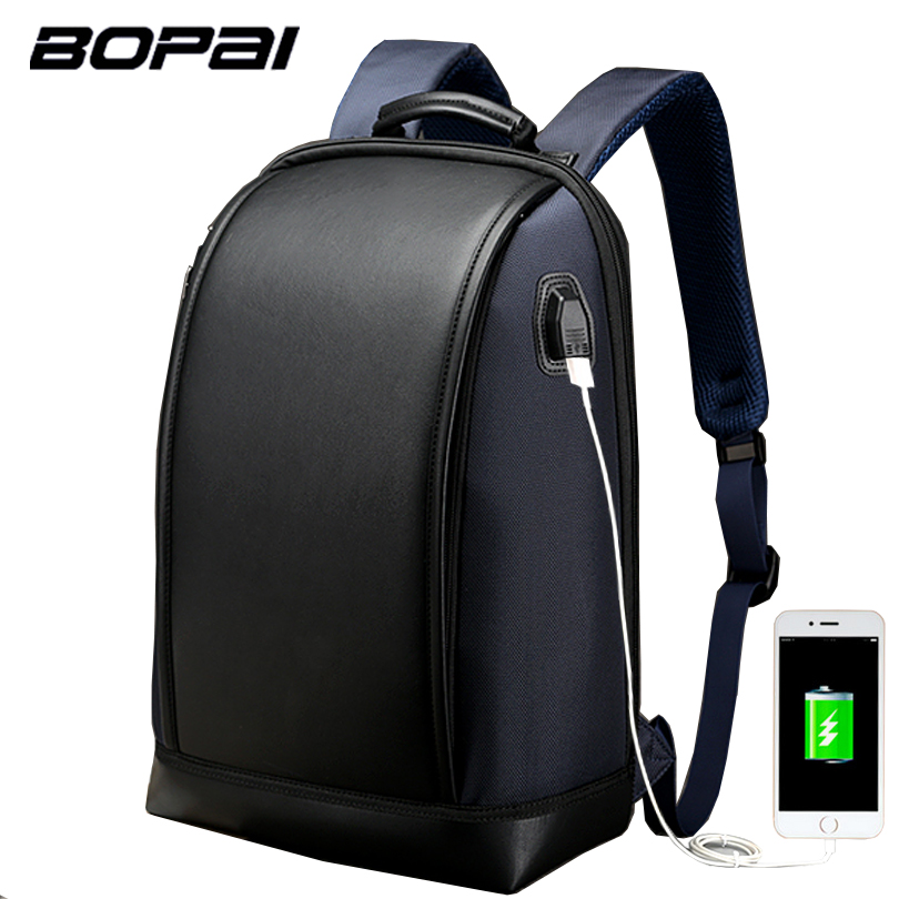 BOPAI Laptop Backpack External USB Charge Port for 15.6 inch Computer Backpacks Anti-theft Waterproof Bags for Men Drop Shipping
