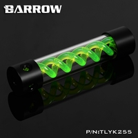 Barrow T Virus Helix Suspension Cylinder Water Tank 255mm Green With Black Cap Water Cooling Reservoir