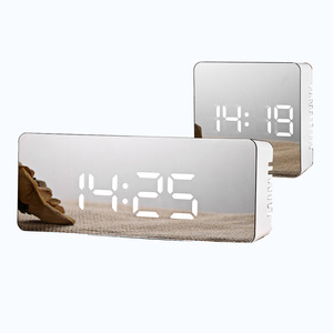 Image 1 - LED מראה שעון מעורר דיגיטלי נודניק שולחן שעון להתעורר אור אלקטרוני גדול זמן טמפרטורת תצוגת עיצוב הבית שעון