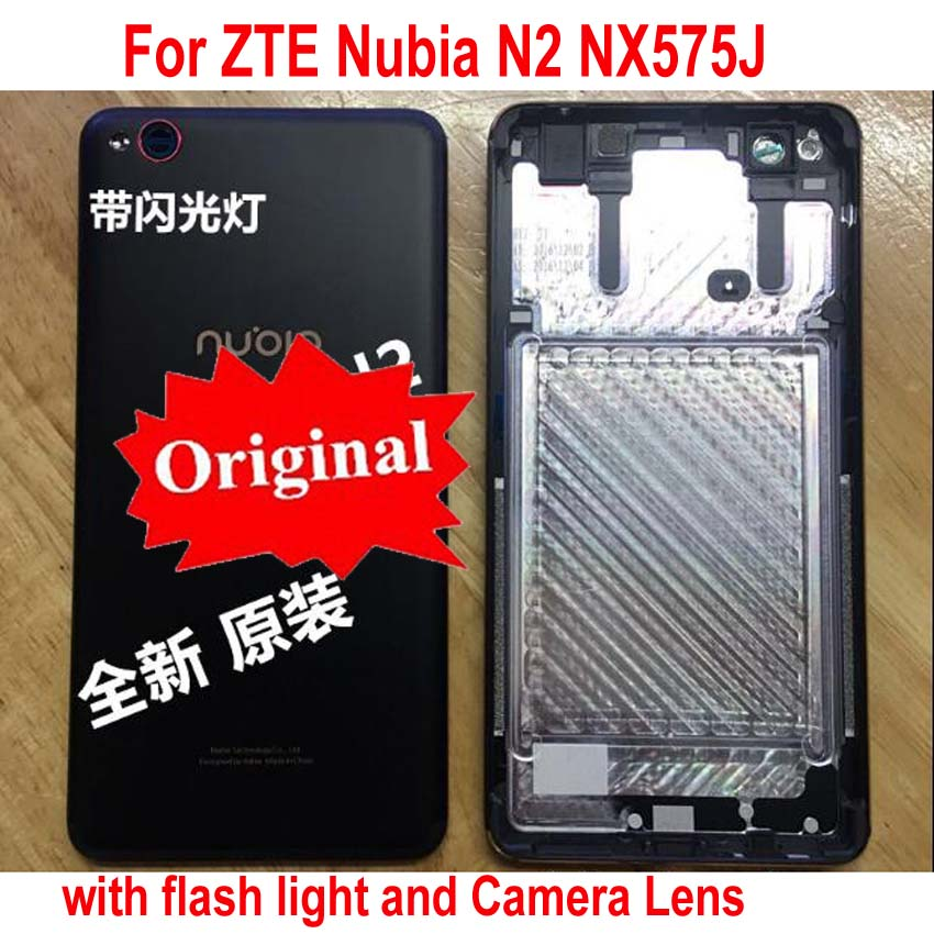 100% Original Best Back Battery Cover For ZTE Nubia N2 NX575J Phone Rear Case Housing Door with flash light + Camera Glass Lens(China)