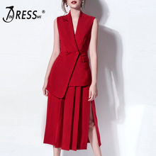 INDRESSME 2019 New Women Two-piece Set Notched Collar Sleeveless Button Top With Pleated Slit Skirt Party Red Set