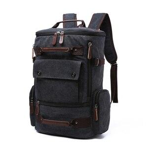 Image 4 - Sac à dos vintage en toile pour homme, grande contenance et haute qualité, idéal pour voyager, servir de cartable ou contenir un ordinateur portable