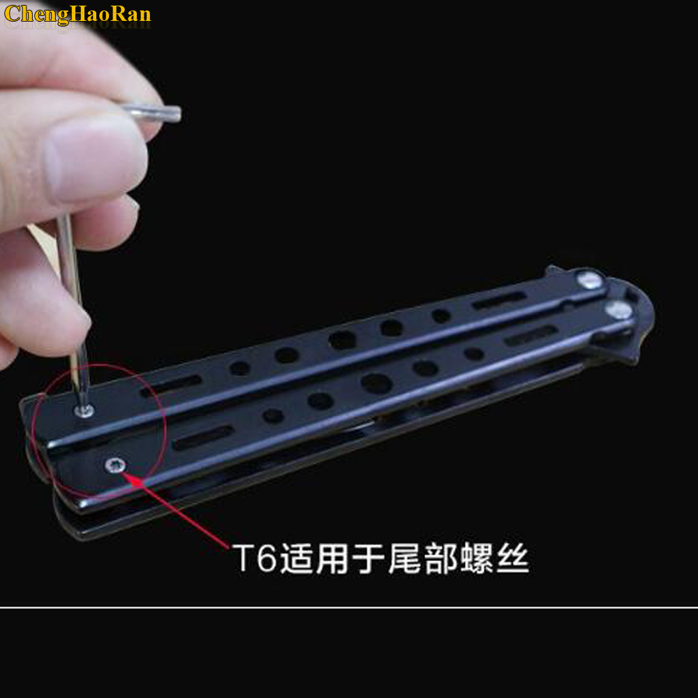 Image 4 - 100 1000pcs T8/T6 dual purpose screwdriver Hexagonal plum L shaped convenient wrench Folding knife butterfly knife tool-in Replacement Parts & Accessories from Consumer Electronics