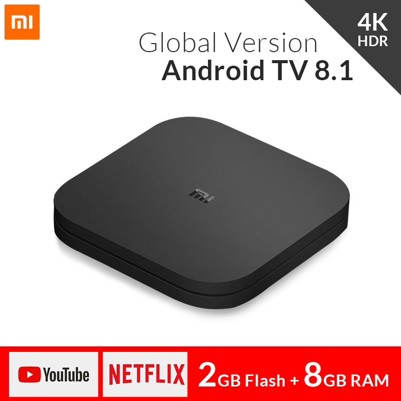 2018 Original Xiaomi Mi TV BOX S Smart 4K Ultra HD 2G 8G Android 8.1 WIFI Google Cast Netflix Media Player IPTV Set top Box 3 original xiaomi mi tv box 3 smart 4k quad core hd 2g 8g android 6 0 wifi google cast netflix red bull media player set top box