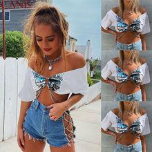 2019 New Fashion Summer Women Sexy Metal Chain Tops Short Sleeve Deep V Neck Punk Crop Top T-shirts