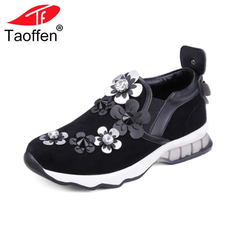 TAOFFEN Classic Women Real Genuine Leather High Heel Shoes Woman Round Toe Solid Color Pumps Women Soft Shoes Size 34-39