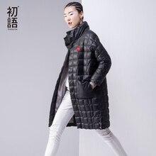 Toyouth Autumn & Winter Long Style Duck Down Parkas Women Botton Collarless Thicken Loose Coats