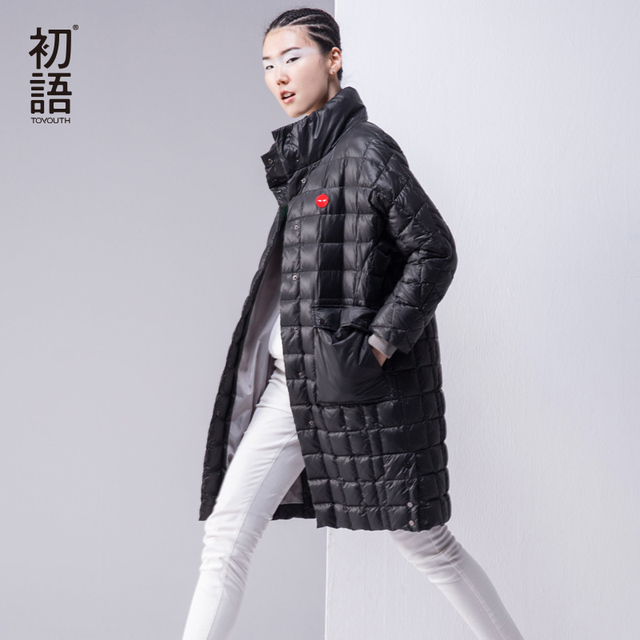 Toyouth Autumn & Winter Long Style Parkas Women Botton Collarless Thicken Loose Coats Female