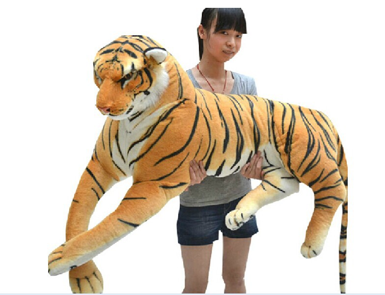 biggest animal plush toys tiger toy  huge stuffed tiger doll tiger pillow birthday gift 130cm stuffed animal 115 cm plush simulation lying tiger toy doll great gift w114