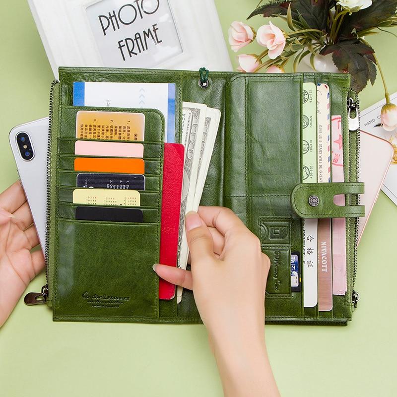 Contact's portefeuilles en cuir véritable fermeture à glissière sangle porte-monnaie femme Long portefeuille pour les femmes moraillon conception de mode porte-carte sac de téléphone - 3