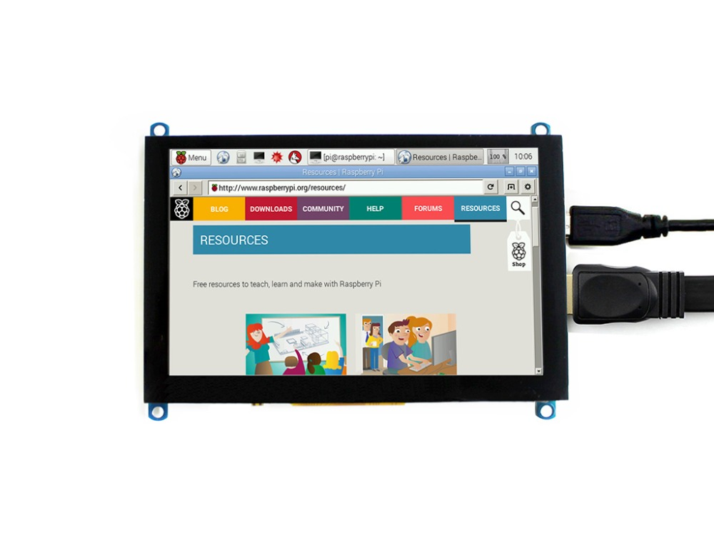 Waveshare 5inch HDMI LCD (H), 800x480, Capacitive Touch Screen LCD Tablet,HDMI interface,Support Raspberry Pi,BB Black,Banana Pi