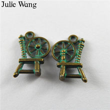 Julie Wang 20 pcs Antique Perunggu Hijau Charms Alloy Tekstil Mesin Bentuk Liontin Perhiasan Membuat Gelang Kalung Aksesori(China)