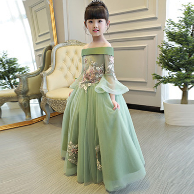 Wedding Birthday Christmas Tutu Long Children Dress Embroidered Floral Bead Dresses For Kid First Communion Shouldless Dress E90 simple women s dolman sleeves floral embroidered dress