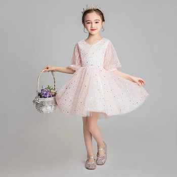 Baby Toddler Sweet Pink/White Color Cute Birthday Wedding Parties Ceremony Ball Gown Fluffy Dress Kids Tutu Princess Short Dress