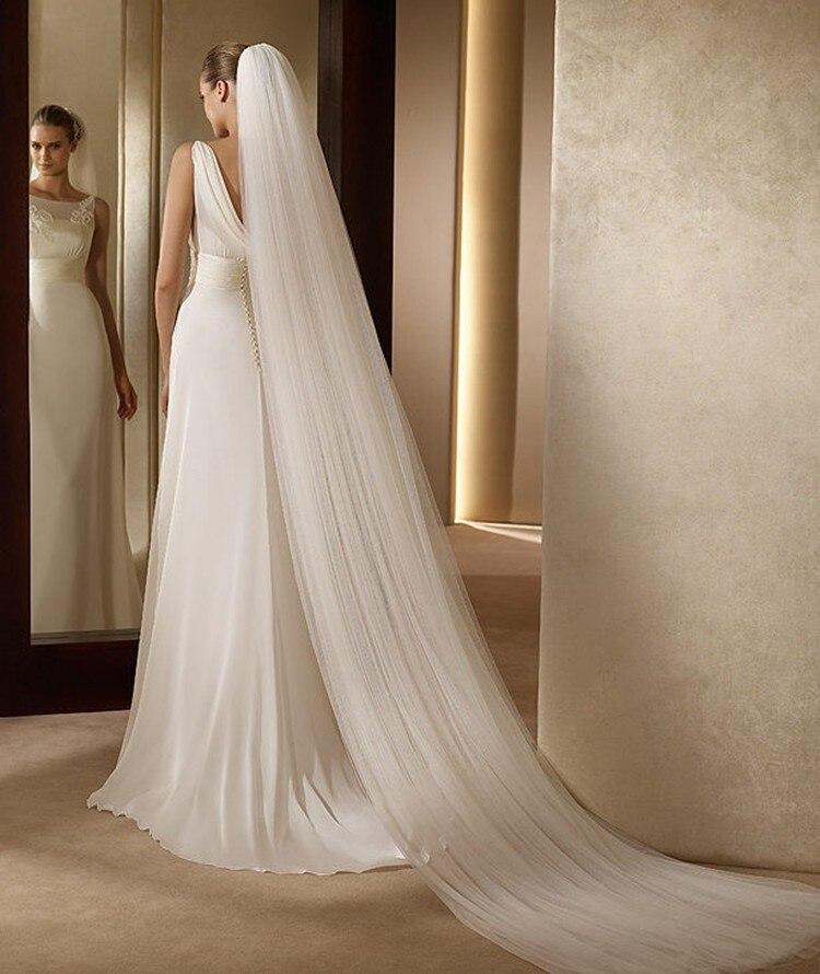 NZUK Elegante Hochzeit Zubehör 3 meter 2 Schicht Hochzeit Schleier Weiß Elfenbein Einfache Braut Schleier Mit Kamm Hochzeit Schleier Heißer verkauf